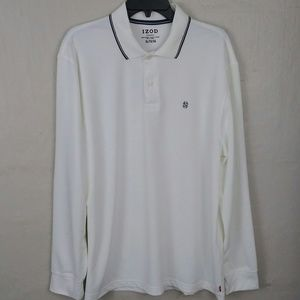 IZOD Performance White Long Sleeve Pullover Shirt